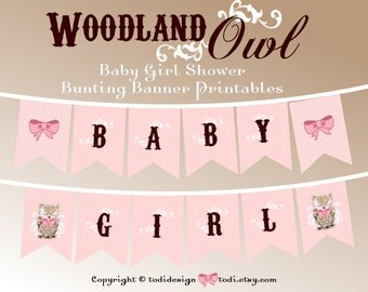 Woodland Owl Baby Girl Shower Party Printables INSTANT DOWNLOAD- Pink & Brown Baby Girl Banner
