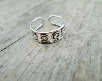 Sterling Silver Swirls Toe Ring Adjustable