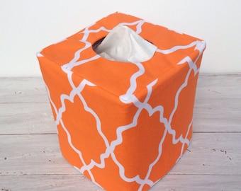 Orange Moroccan reversible tissue box cover
