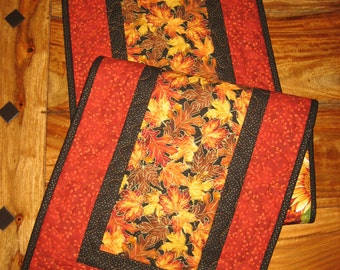 Fall Table Runner, Autumn Orange Yellow Green Leaves, Quilted Table Runner, Fall Autumn Table Decor, Long Reversible Runner Quiltsy Handmade