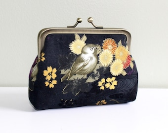 Medium Coin Purse in Black with Asian Birds and Flowers