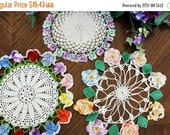 3 Pansy Edged Doilies, Vintage Crochet Doily Lot, Multi Colored Borders, Hand Made Crochet 13340