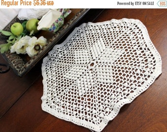Chunky Doily in Cream- Hand Crocheted 11662