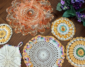 6 Assorted Crochet Doilies and Heat Pads, Vintage Knit Doily, Whites and Oranges Lot 13696