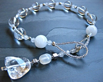 Clear Quartz, White Quartz & Moonstone Gratitude Meditation Beads