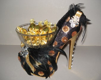 Shoe Candy Dish black & gold mimi sequin Platform