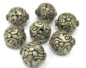 1 BEAD - Large Tibetan silver repousse carving floral design oval shape beads from Nepal  -  BD900