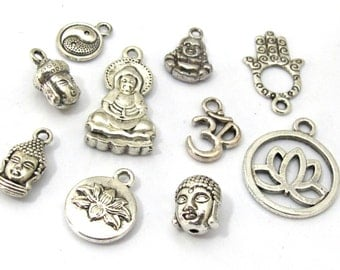 10 charms set -  Antiqued silver tone Buddha om charm beads collection set - nepalbeadshop jewelry supplies - CM181