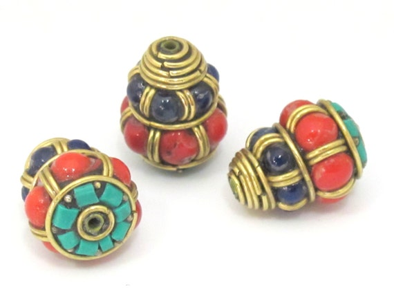 2 beads - Ethnic Tibetan beads brass cone bead with turquoise and color bead inlays - Nepal Beads shop  BD864s
