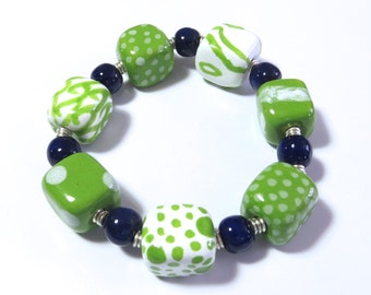 Beaded Bracelet, Kazuri Bangle, Fair Trade, Ceramic Jewelry, Green Navy Blue and White