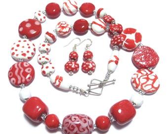 Red Kazuri Necklace, Ceramic Jewelry, Kazuri Bead Necklace, Red and White kazuri Necklace. Matching Earrings