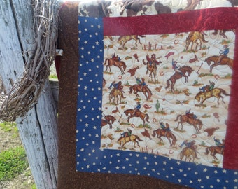 Cowboy Log Cabin Quilted Throw