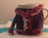 Coffee Mug Cozies Purple with Faux Feather trim Sized For Large or small coffee mug