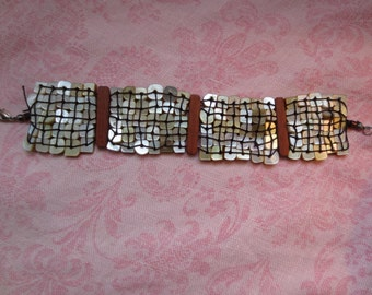 Beautiful vintage woven mother of pearl cuff bracelet. Lot of 1.