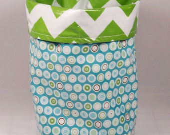 Wastebasket car trash can collapsible anywhere crafting thread catcher laminated cotton waterproof WASTIE Flower Patch dots/green chevron