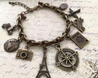 Just Travel Bracelet, Gift Ideas, Best Friend Gift, Compass Bracelet, Travel Bracelet, Journey Bracelet, Eiffel, Passport, Camera Bracelet