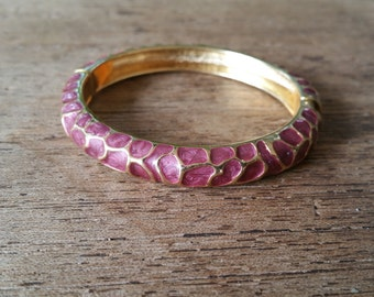Purple and gold colored enamel bangle bracelet