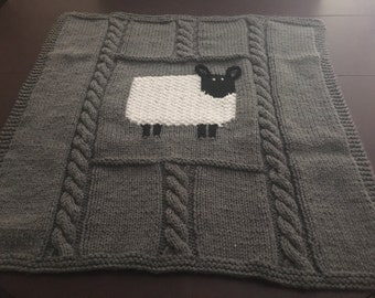 Large Hand-knit Baby Blanket
