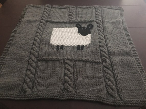 Finger Knitting Blanket : Large hand knit baby blanket
