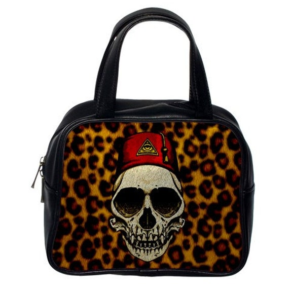 Monkey Skull on Leopard Print handbag