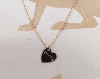 Avocado Heart Charm Necklace