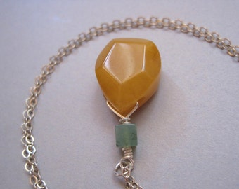 Yellow Agate Necklace, Sterling Silver, Moss Agate, Stone Teardrop Necklace, Yellow Necklace, Earthy, Geometric Stone