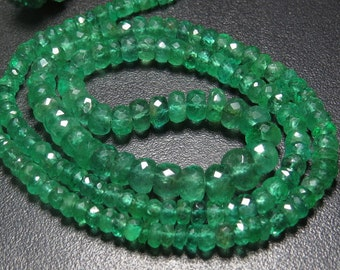 EMERALD - Truly Gorgeous High Quality Natural Green Color - Micro Faceted Rondell Beads - 18 Inches Long - size - 3 - 6 mm Approx