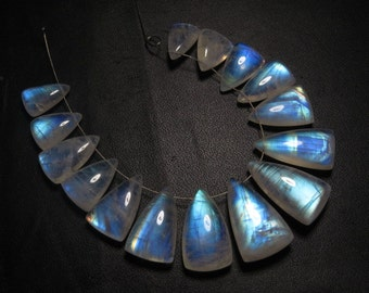 Rainbow MOONSTONE - AAAA - HIgh Quality Smooth Polished Fancy Long Shape Briolettes Full Blue Flashy Fire Huge size 8x12 - 13x21 - 15 pcs