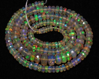 Welo Ethiopian Opal - AAAAAAA - High Quality Gorgeous - Full Color Full Flashy Fire Micro Faceted Rondell Beads 17 Inches -size - 3 - 7 mm