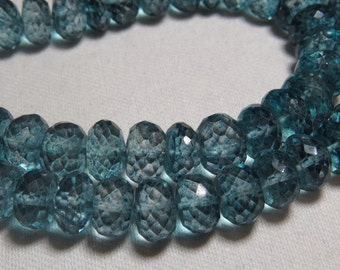 8 inches So Gorgeous - Teal Blue Cotted - Crystal Quartz - Micro Cut Faceted Rondelle Beads sparkle Huge size 9 - 10  mm approx
