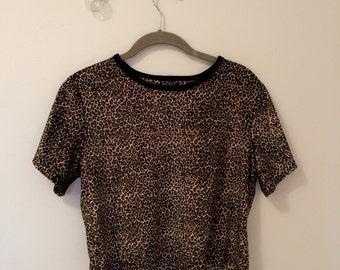 90s Velvet Leopard Crop Top