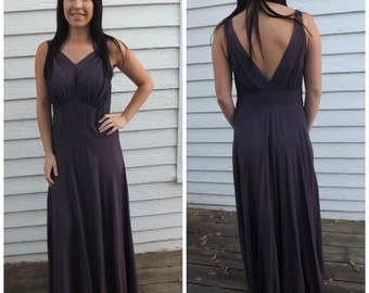 Vintage 40s Purple Gown Beaded Old Hollywood 1940s Sleeveless Formal Dress AS IS
