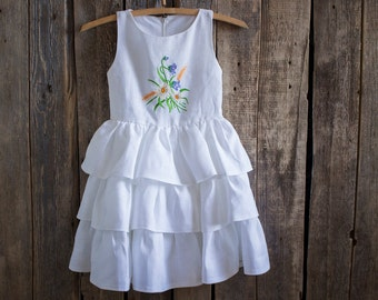 Girl Ruffle Dress, Flower Girl, Rustic Wedding, White ruffles dress, Embroidery, Summer dress Birthday Dress Handmade girl dress Party dress