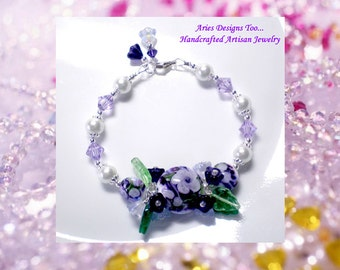 Purple Velvet...Floral Lampwork Bracelet in Purple,Violet and White