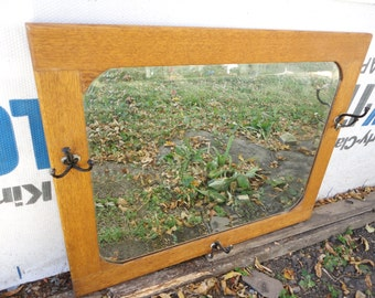 Antique Beveled Mirror With Hooks