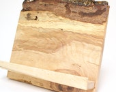 Cookbook Tablet iPad Stand Spalted Birch Wood Live Edge- Sustainable Harvest -  Timber Green Woods