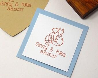 Custom Fox Pair Olive Wood Stamp