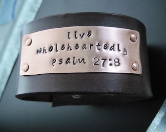 Leather Copper Riveted Words Bracelet