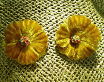 Flower Earrings - Vintage Velvet Millinery Flower Fall Earrings - Faux Clip-on Earrings -Retro Chic Earrings - Cyber Monday Sale