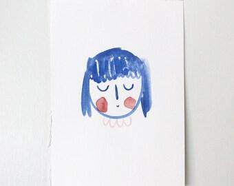 Original Gouache Illustration A5 - Girl Blue No.1