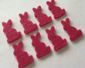 chunky die cut felt rabbits - hot pink - set of 8 pieces - LAST TWO