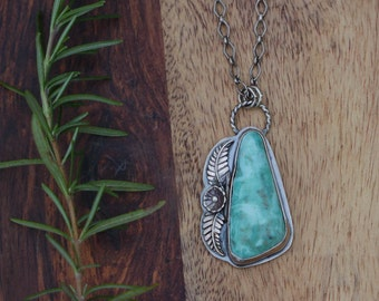 Bohemian Turquoise Necklace, Sterling Silver Jewelry, Southwestern Pendant