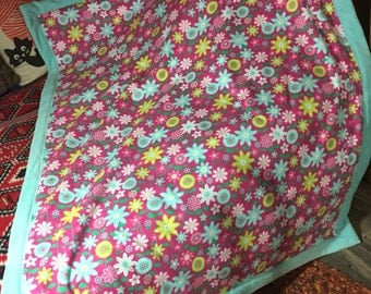 soft flowered baby blanket