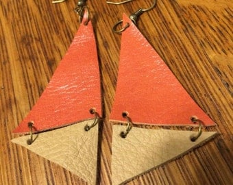 orange and tan leather triangles earrings