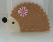 4 Handmade Felt Hedgehog Appliques-Beige