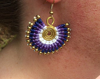 Handcrafted Brass Bead Waxed Cotton Spiral Ethnic Bohemian Neon Summer Earrings