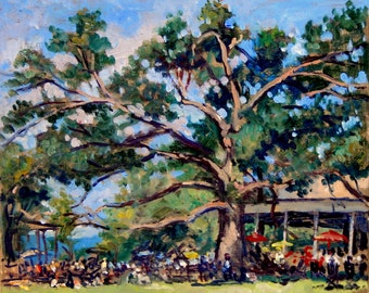 Sunday Afternoon at Tanglewood, The Old Tree. 9x11 American Impressionist Painting on Panel, Signed Plein Air Landscape, Original Fine Art