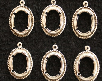 10 Vintage Silver Plated Oval Bezels w/ Prongs