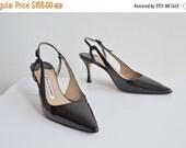 25% OFF STOREWIDE / Vintage MANOLO Blahnik black patent leather heels / 8