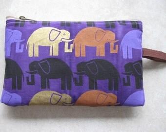 purple elephant print large padded bag